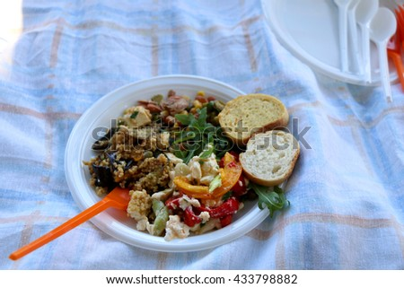 Various picnic food on a plastic plate: vegetables, cheese, beans, millet and bread. Selective focus.  - stock photo