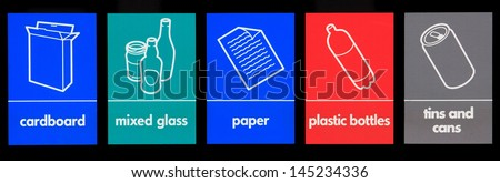 Various recycling signs - stock photo