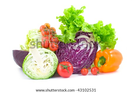 Various ripe vegetables isolated on a white background