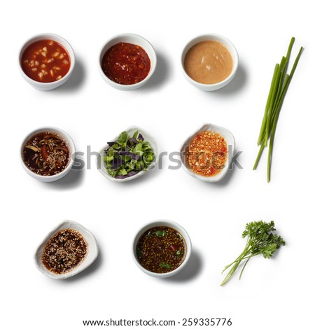 Various sauces, view from above, isolated on white - stock photo