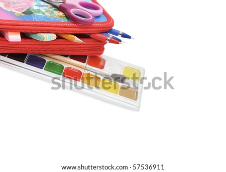 Various school  accessories on a white background - stock photo