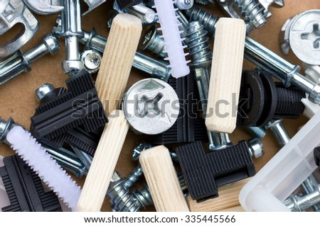 Various Screw Bolt And Cleat. - stock photo