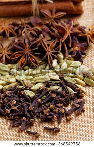 Various seasonings for cooking, Star Anise  Cardamom, Clove, Cinnamon. - stock photo