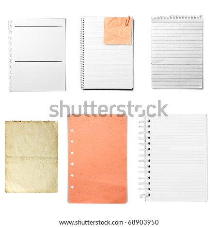 Various sheet from notebook on white background - stock photo