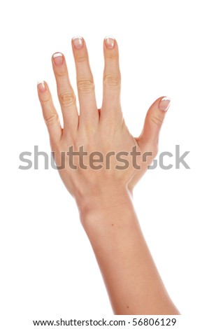 Various signs hands and palms isolated on white background - stock photo