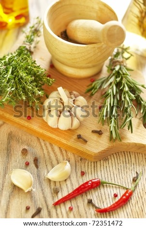 Various spices and herbs - stock photo