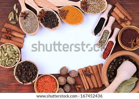 Various spices and herbs with empty white blank for recipe - stock photo