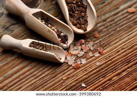 various spices and salt - stock photo