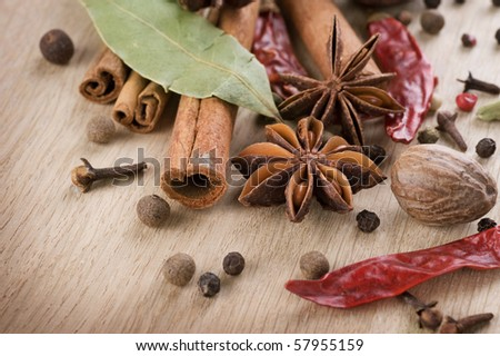 Various Spices background - stock photo