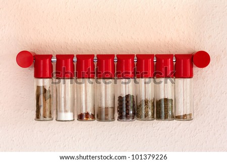 Various spices in bottles hanging on the wall.Bay leaves,salt,red pepper,pepper,savory,curry - stock photo