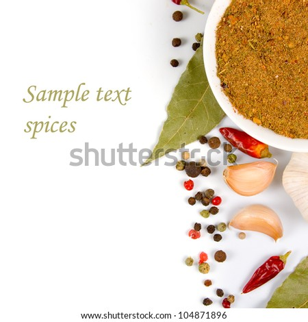 Various spices on a white background