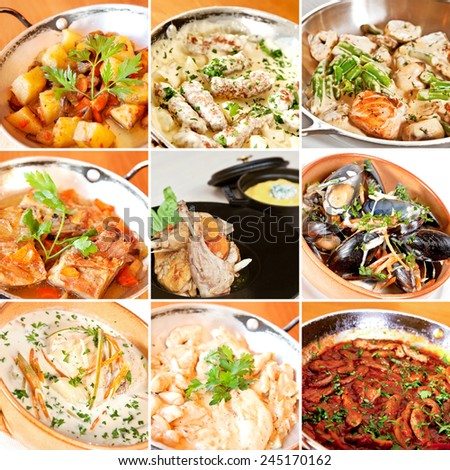 Various stew and ragout collage including vegetable ragout, veal, chicken, salmon, pork rib stew, rabbit and chicken ragout and mussels stewed in white wine