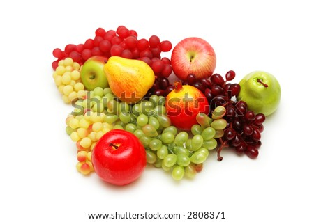 Various summer fruits isolated on the  white - stock photo