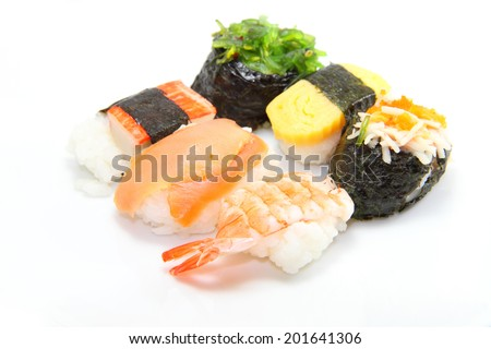 various sushi / any sushi in the white disk