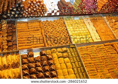 Various sweets in Istanbul. Turkey - stock photo