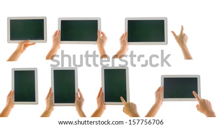 various tablet computer isolated in a hand on the white backgrounds. collections - stock photo
