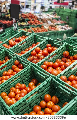 Various tomatoes in supermarket