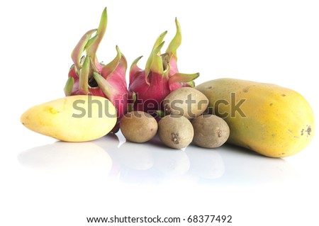 various tropical fruits isolated on white