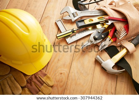 various type of tools on wood planks - stock photo