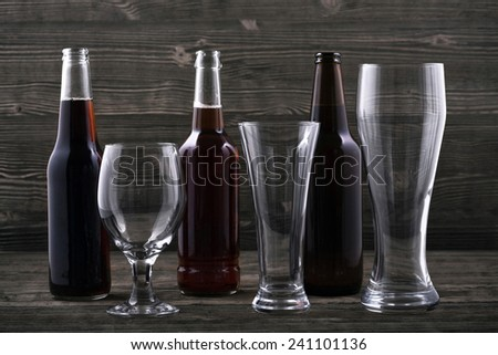 Various types beer and beer glasses - stock photo