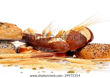 various types of bread against white background