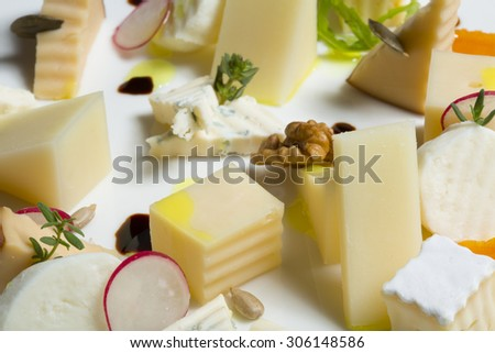 Various types of cheese on the table