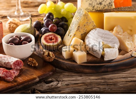 Various types of cheese, still-life.