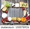 Various types of cheese with empty space background concept - stock photo