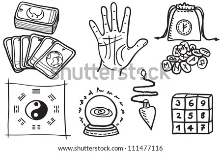 various types of fortune telling - hand drawn illustration - stock photo