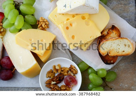 Various types of fresh Cheeses. Top view - stock photo