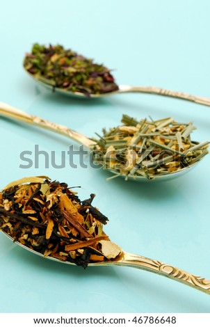 various types of herbal tea - stock photo