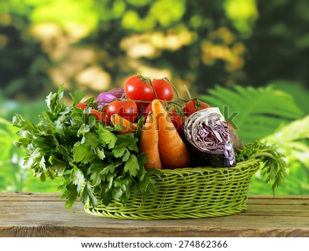various vegetables (carrots, potatoes, cabbage, tomatoes) in basket - stock photo