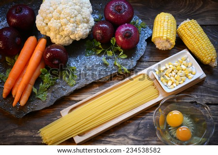 Various vegetables, corn and spaghetti for cooking  - stock photo