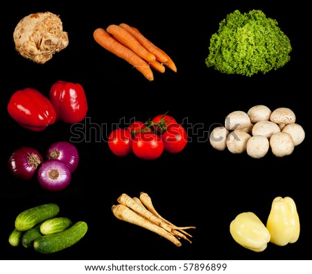 Various vegetables on the black background - stock photo