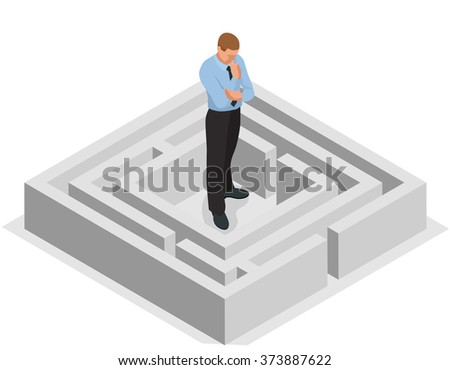 Various ways. Solving problems. Businessman finding the solution of a maze. Business concept. Flat isometric illustration - stock photo