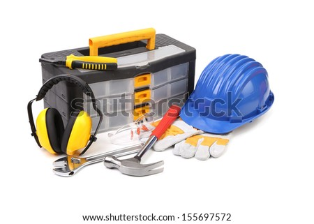Various worker and safety equipment. Isolated on white background. - stock photo