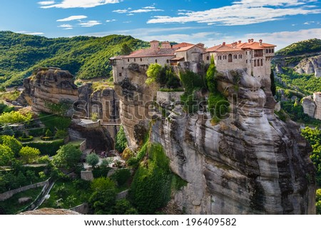 "Varlaam Monastery in Meteora rocks, meaning ""suspended into air"" in Trikala, Greece - stock photo"