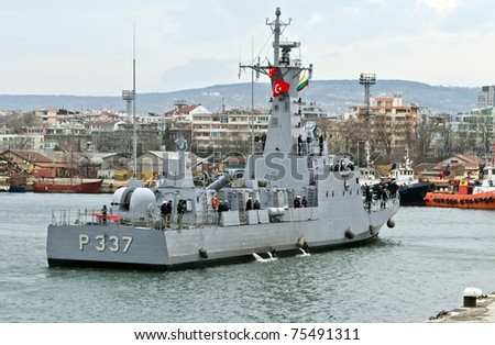 VARNA, BULGARIA - APR 08: Turkish Fast Attack Missile Boat TCG ATAK (P-337) visits Port of Varna on April 08, 2011 in Varna, Bulgaria. The vessel is taking part in Starfish 2011 Naval exercise.