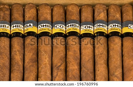 VARNA,BULGARIA-APRIL 26.2014: Photo of a box of cigars Cohiba, Habana Cuba Maduro 5.Cohiba is a brand for two kinds of premium cigar, one produced in Cuba for Habanos S.A.