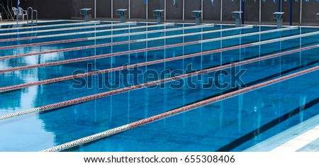 varna bulgaria circa 2017 outdoor sports swimming pool blue water and separation