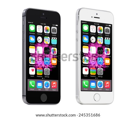 Varna, Bulgaria - December 08, 2013: Apple Space Gray and Silver iPhone 5S rotated at a slight angle and displaying iOS 8 mobile operating system, designed by Apple Inc. Isolated on white background. - stock photo