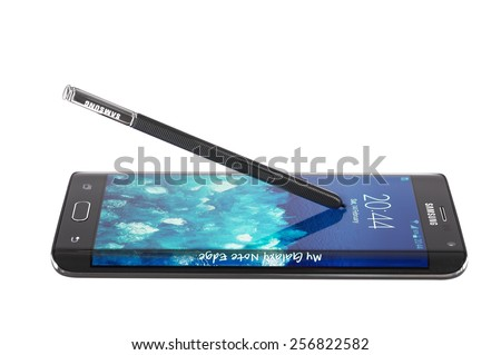Varna, Bulgaria - February 14, 2015: Studio shot of a black Samsung Galaxy Note Edge smartphone, with 16 mP Camera, quad-core 2,7 GHz and 5.6inc Curved edge screen display, 1600 x 2560px - stock photo