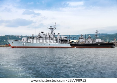 Varna, Bulgaria - July 16, 2014: Frigate Smely of Bulgarian Navy stands in Varna naval base. The Koni class is the NATO reporting name for anti-submarine frigate built by Soviet Union - stock photo