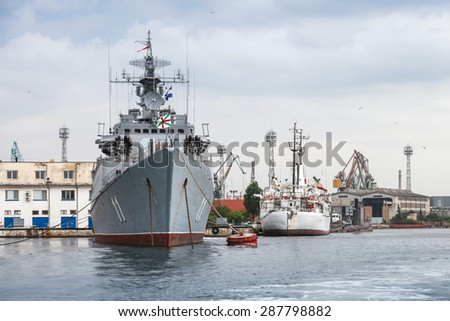 Varna, Bulgaria - July 16, 2014: Frigate Smely of Bulgarian Navy stands moored in Varna naval base. The Koni class is the NATO reporting name for anti-submarine warfare frigate built by Soviet Union - stock photo