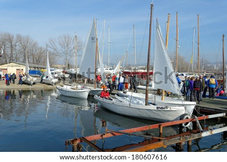 "VARNA, BULGARIA - MARCH 03, 2014: The national sailing boat race ""March the third"", a national competition conducted in the Varna lake with yawl-6 boats. Getting ready."
