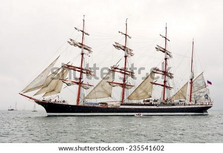 """VARNA, BULGARIA - MAY 03, 2014: Historical seas Tall Ship Regatta 2014. The Russian  tall ship  """"Sedov"""" at the Parade of sail in Varna. - stock photo"""