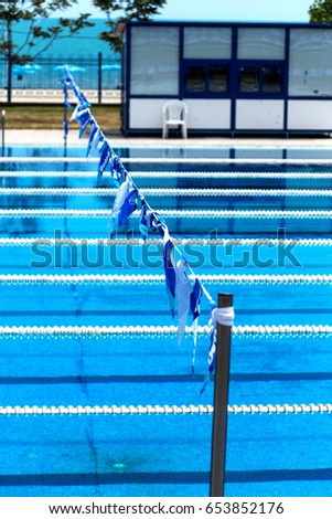 varna bulgaria may 29 2017 outdoor sports swimming pool blue water