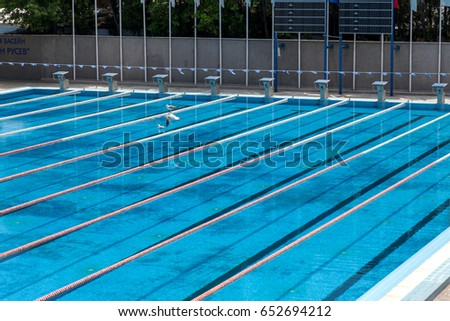 varna bulgaria may 29 2017 public sports swimming pool open lines