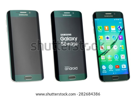 Varna, Bulgaria - May, 26, 2015: Studio shot of a green Samsung Galaxy S6 Edge smartphone, with 16 mP Camera, quad-core 2,7 GHz and 440 x 2560 pixels Display Resolution - stock photo