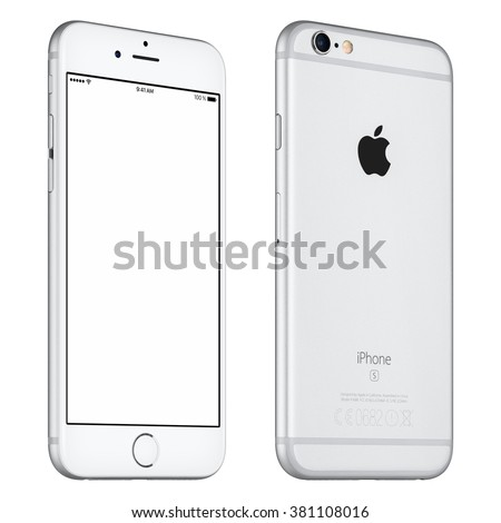 Varna, Bulgaria - October 24, 2015: Front view of Silver Apple iPhone 6S mockup slightly rotated with white screen and back side with Apple Inc logo. Isolated on white. - stock photo
